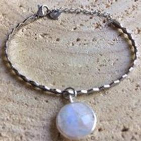 Bracelet acier + pierre de lune