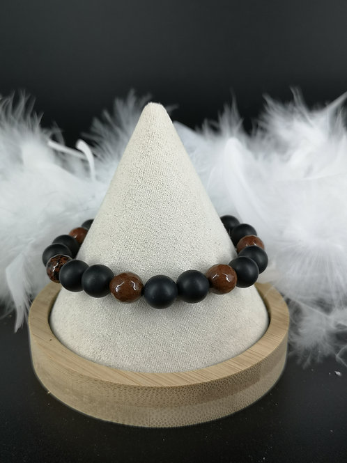 Bracelet homme Onyx mat et obsidienne acajou 10mm