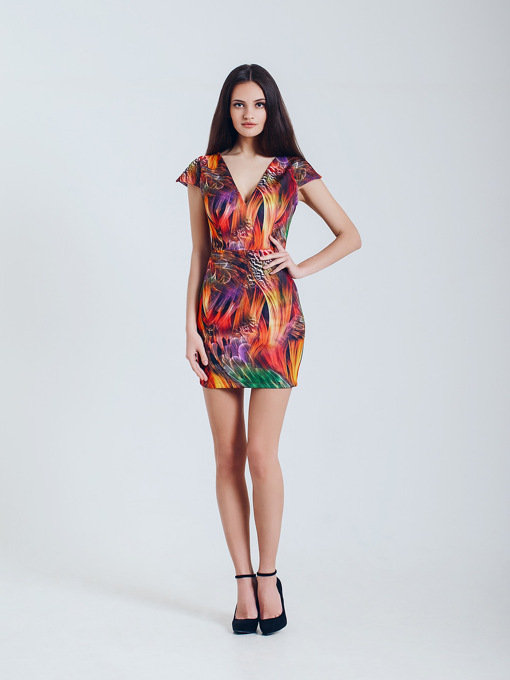 Fashion Model in Tropical Dress