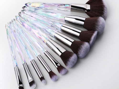 10pc Crystal Makeup Brushes