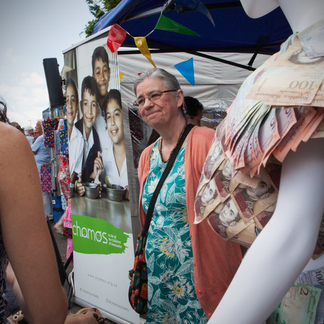 Money-dress exhibition and collections at Histon & Impington Feast Festival