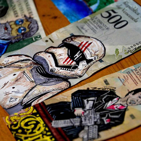 Why are Venezuelans using banknotes for artistic purposes rather than buying necessities?