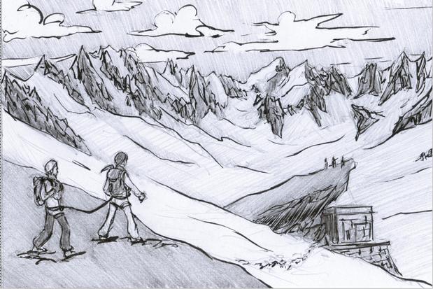 Une cordée en route vers le refuge du Couvercle