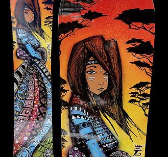 Custom de snowboard - chaman geisha dessiné de profil à la main aux feutres markers et à la bombe de peintue sur planche de snowboard burton. couché de soleil et arbres japonais en ombres chinoise. La chaman a les cheveux au vent, son visages est tatoué, elle porte un long kimono ou longue robe aux milles motifs