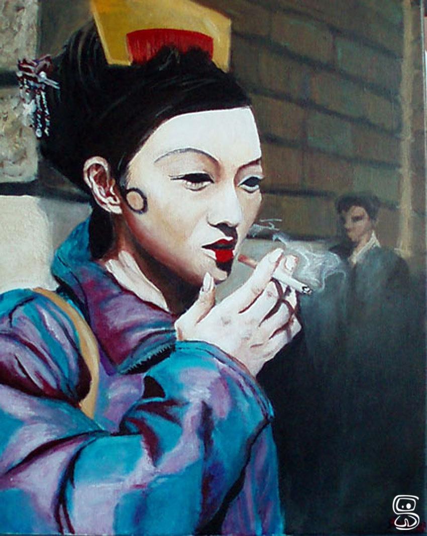 Geisha smoking