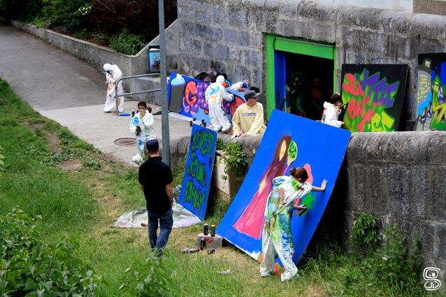 Fresque du Tunnel St Martin Graffé avec l'espace animation de Sallanches