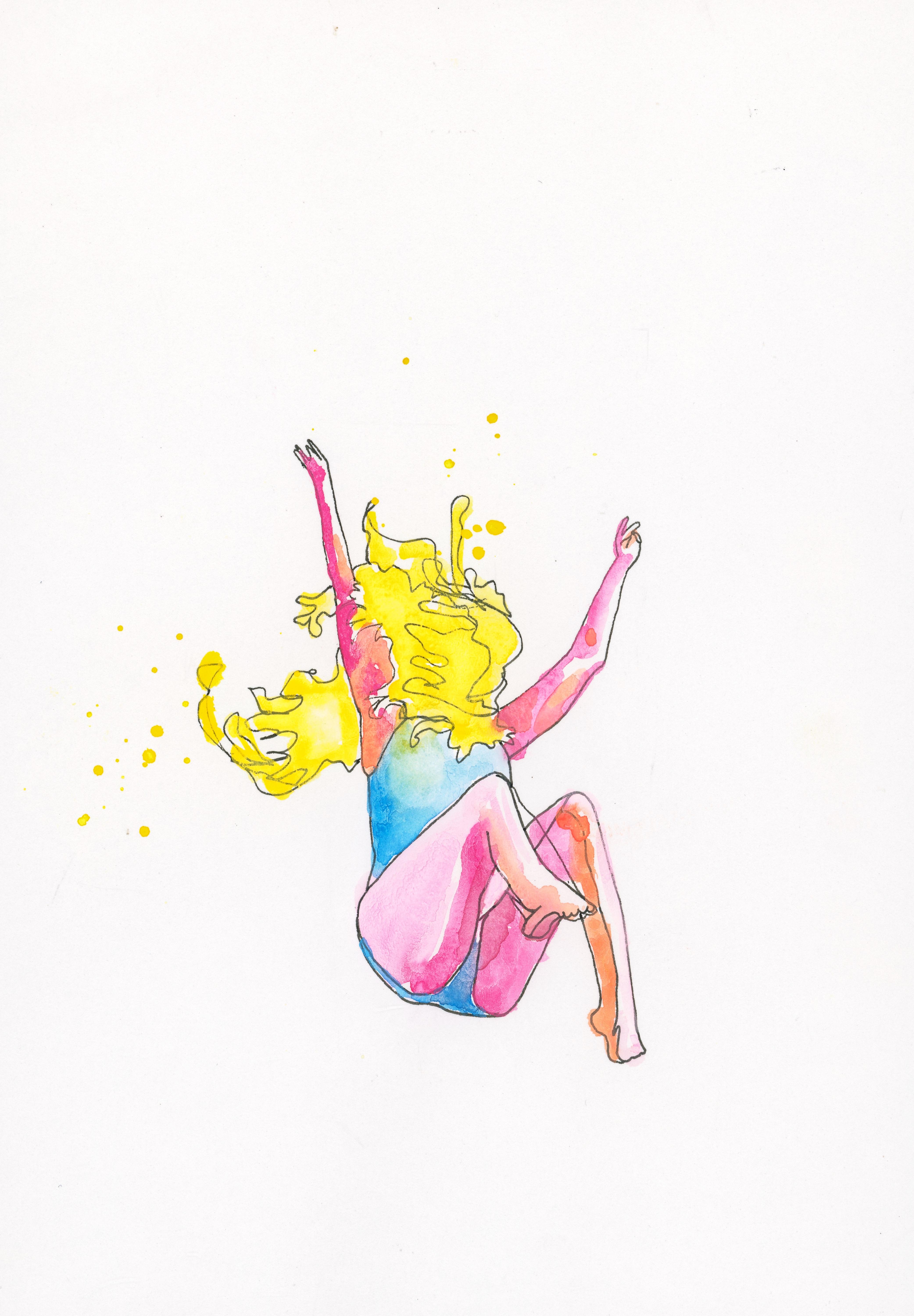 """""""falling""""// 11x14in print of watercolor 50$ in printshop"""