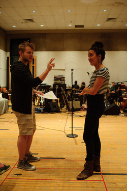 rehearsal image Emily Shackelford and F. Michael Haynie in Stillwater at KCRep
