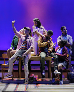 Emily Shackelford and cast in Between The Lines at Kansas City Repertory Theatre (photo by Cory Weav