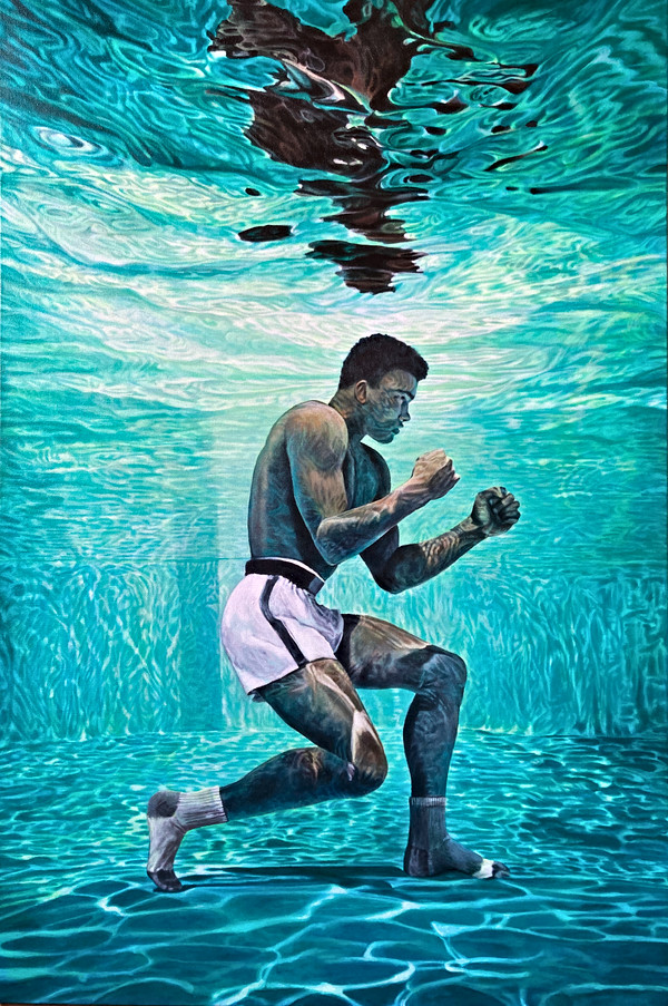 Ali in socks // acrylic on canvas 24x36 in