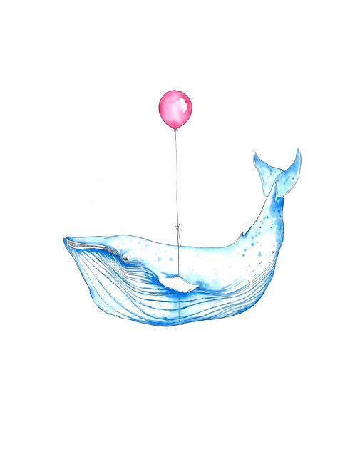 Whale and the Balloon Print