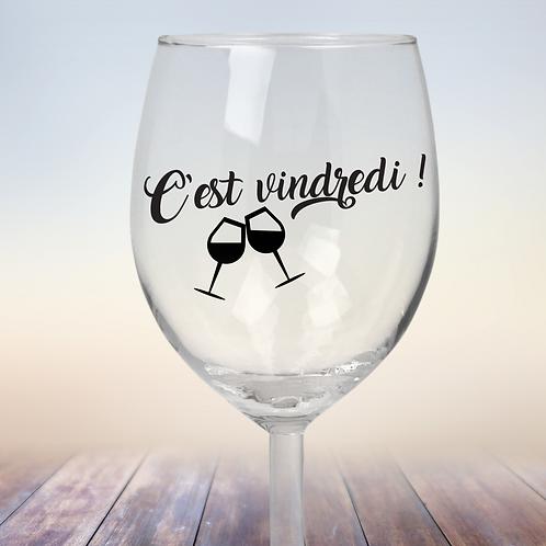 """Autocollant pour coupe à vin """"C'est vindredi !"""""""