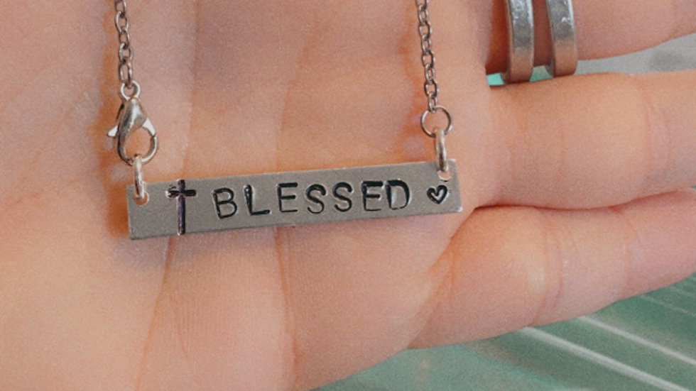 """""""Blessed"""" Bar Necklace"""