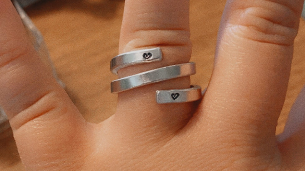 Custom Thin Wrap Ring with Hearts