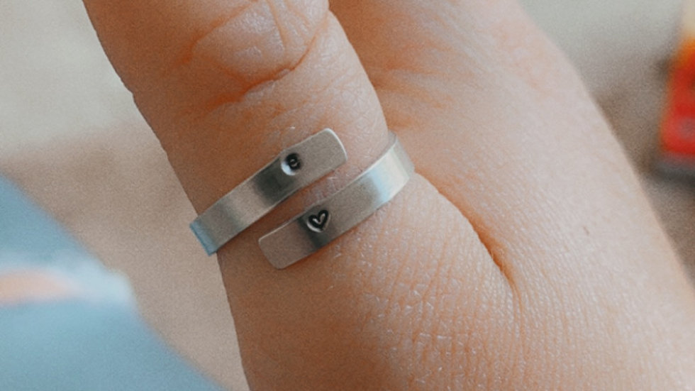 Thin Wrap Ring with Initials