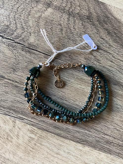 Bracelet vert et doré