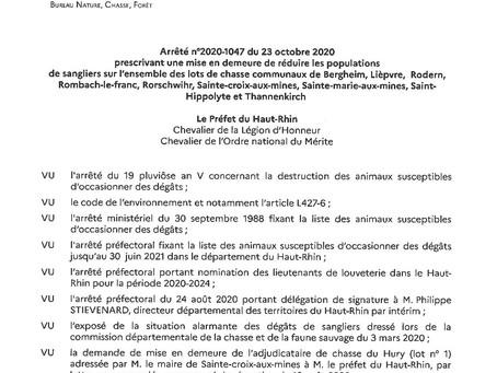 Arrêté n°2020-1047 du 23 octobre 2020