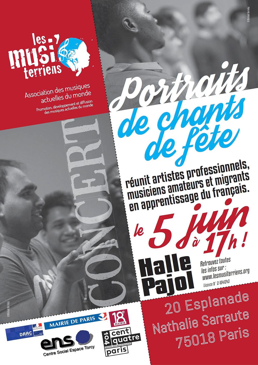 Concert Chants de fêtes à la Halle Pajol avec les apprenants de l'ENS & les Musiterriens