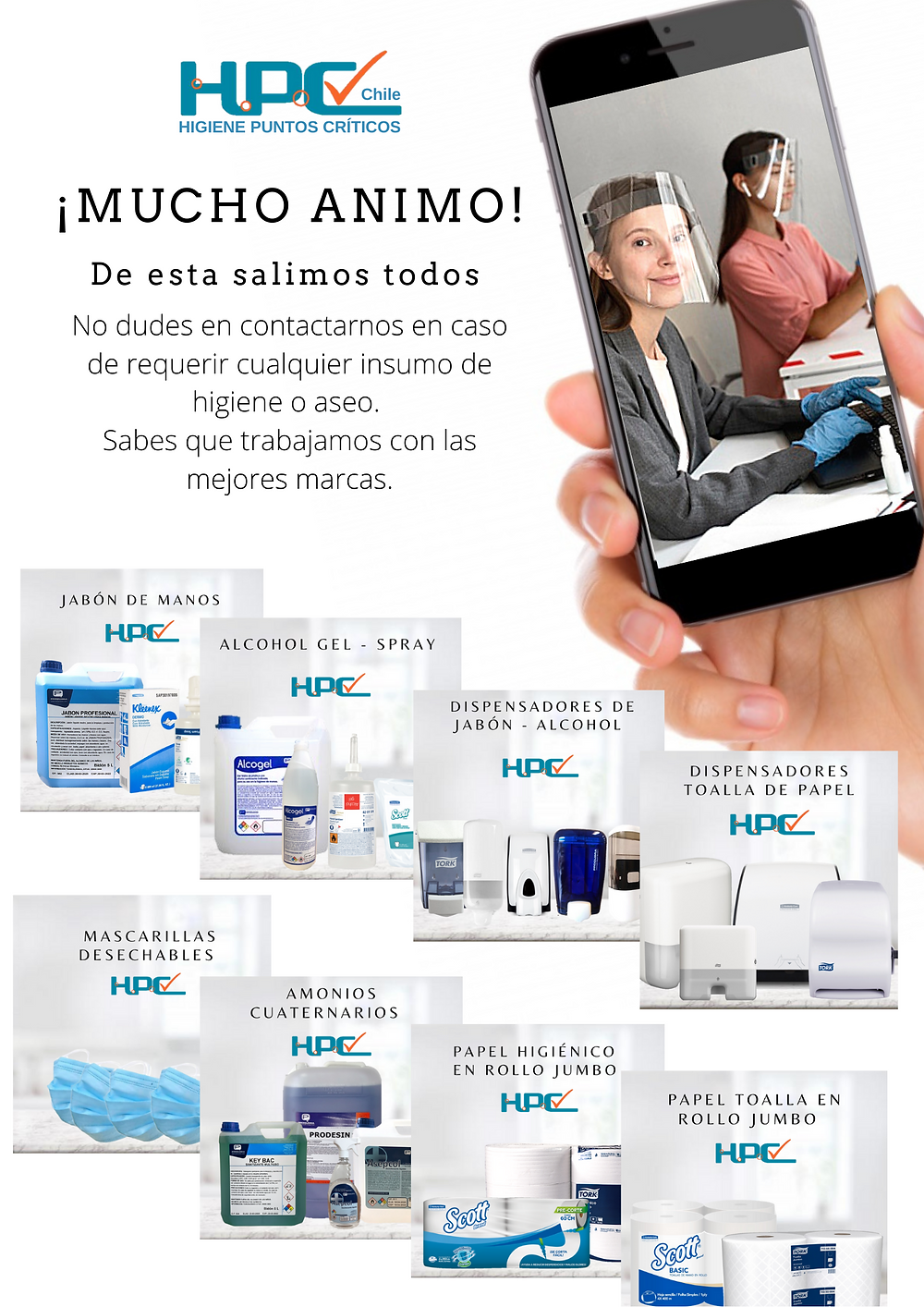 HPC CHILE, Alcohol gel, TORK, KIMERBLY CLARK, papel higiénico, dispensadores de toalla