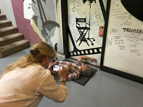 Signing the Wall of Fame