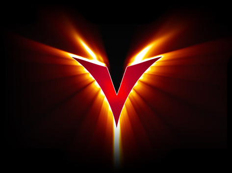 V flames trademarked logo