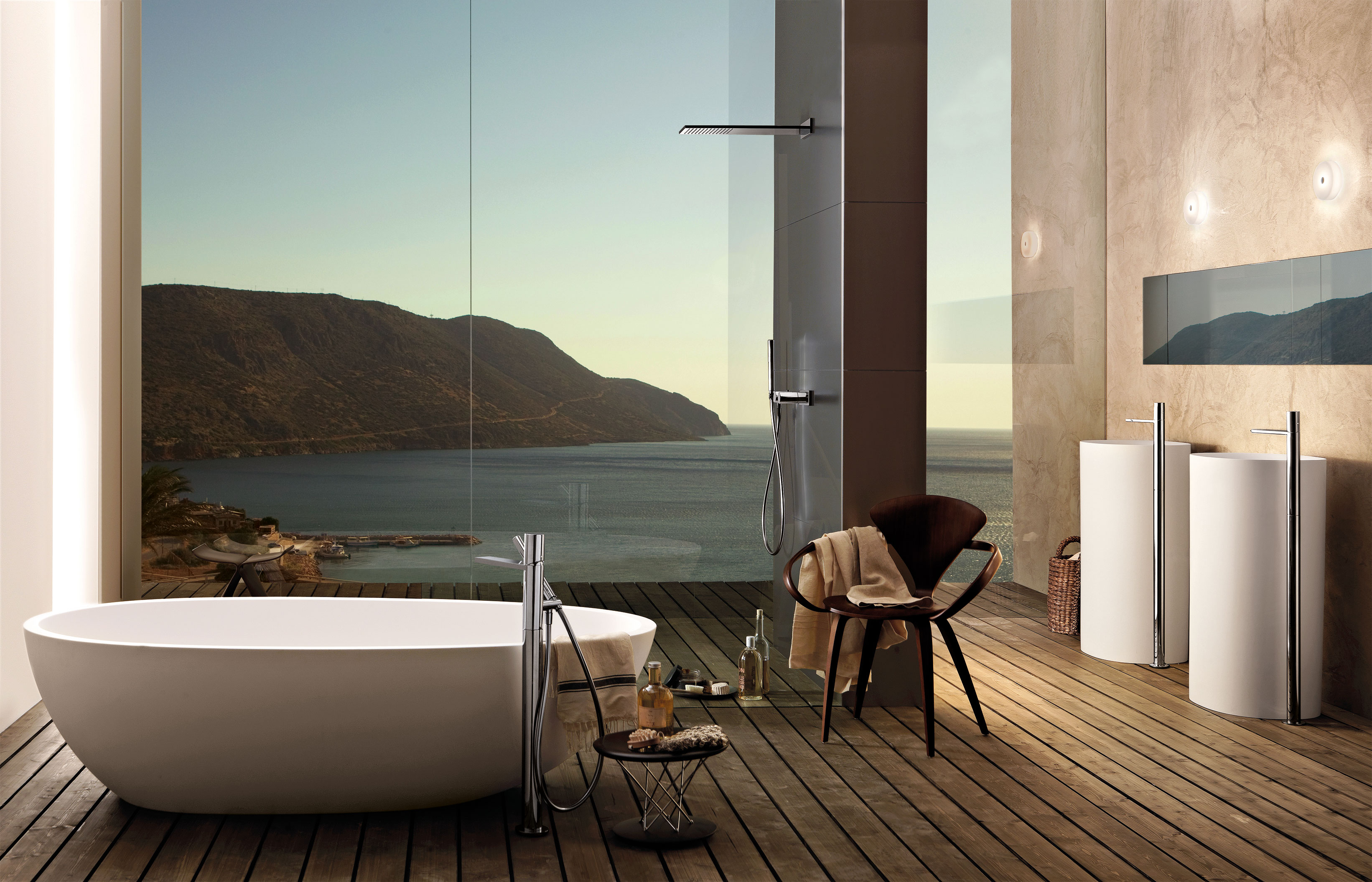 Ocean view shower