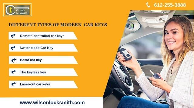 Different types of modern car keys