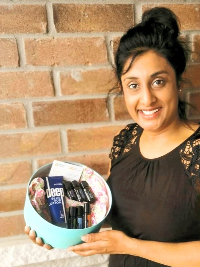 Naseem with doTerra Gift Basket from Advanced Vitality