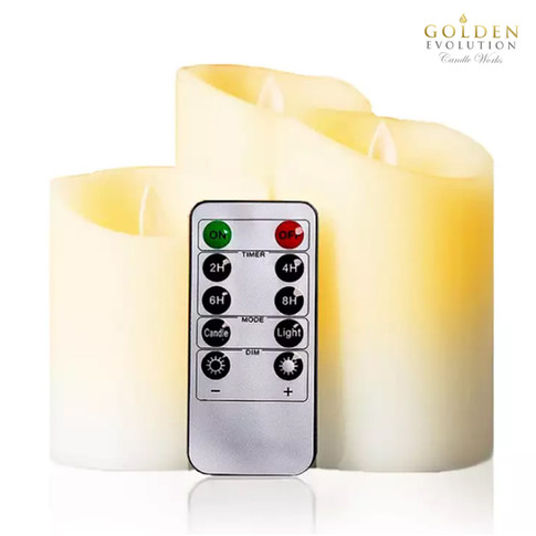 Set of 3 Flickering LED Flameless Real Wax Candles (8cm diameter)