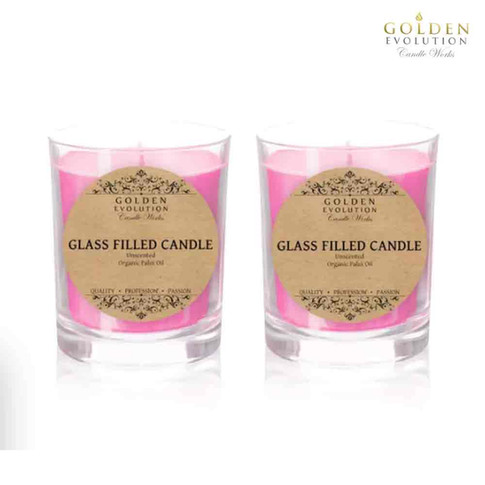 Set of 2 Unscented Glass Filled Candle 2oz (Pink)
