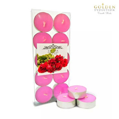 Rose Scented Tealight Candle 10 PCS in PVC Box (Pink)