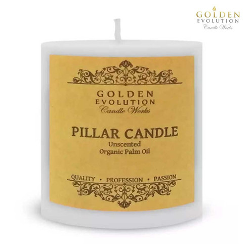 """Unscented 3"""" x 3"""" White Pillar Candle"""