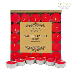 50 PCS Unscented Palm Tealight Candle (Red)