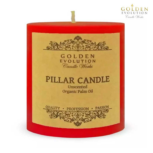 """Unscented 3"""" x 3"""" Red Pillar Candle"""