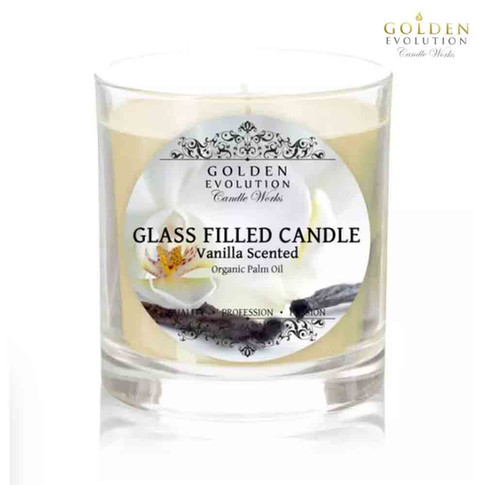 Vanilla Scented Glass Filled Candle 7oz (Ivory)
