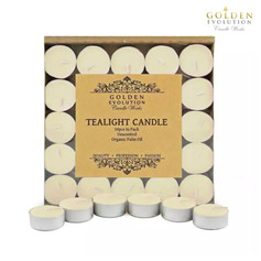 50 PCS Unscented Palm Tealight Candle (Ivory)