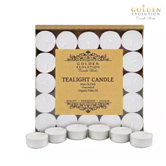 50 PCS Unscented Palm Tealight Candle (White)