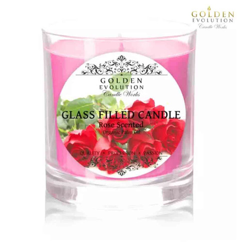 Rose Scented Glass Filled Candle 7oz (Pink)