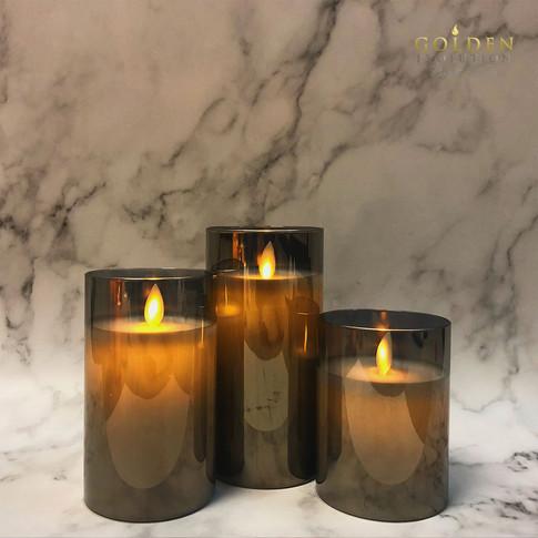 Glass LED Candle - Grey