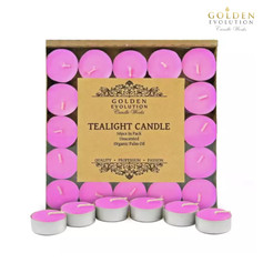 50 PCS Unscented Palm Tealight Candle (Pink)