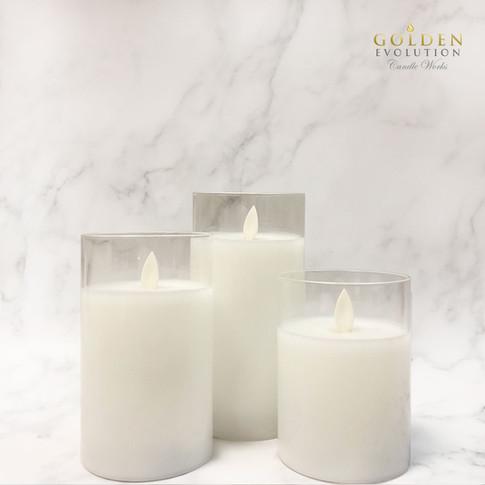 Glass LED Candle - White