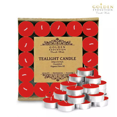 100 PCS Unscented Palm Tealight Candle (Red)