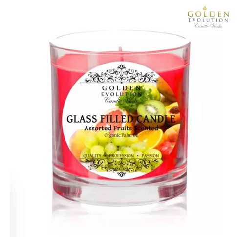 Assorted Fruits Scented Glass Filled Candle 7oz (Red)