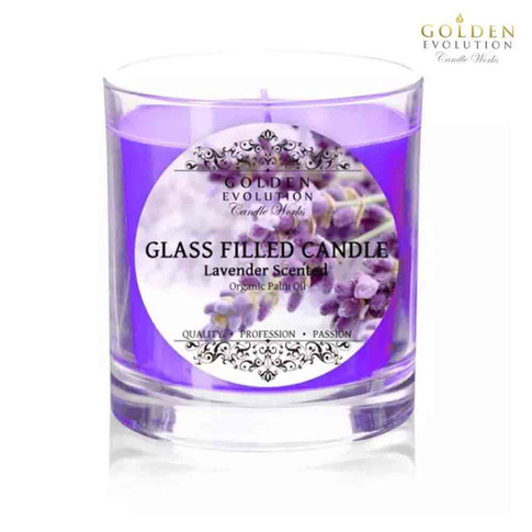 Lavender Scented Glass Filled Candle 7oz (Purple)