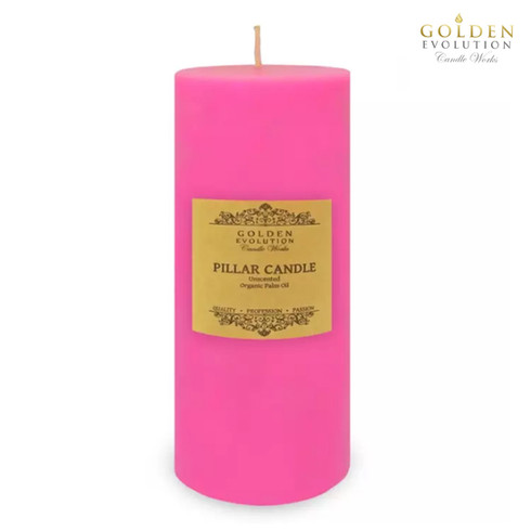 """Unscented 3"""" x 9"""" Pink Pillar Candle"""