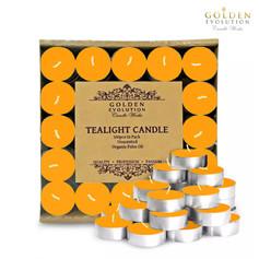 100 PCS Unscented Palm Tealight Candle (Orangish Yellow)