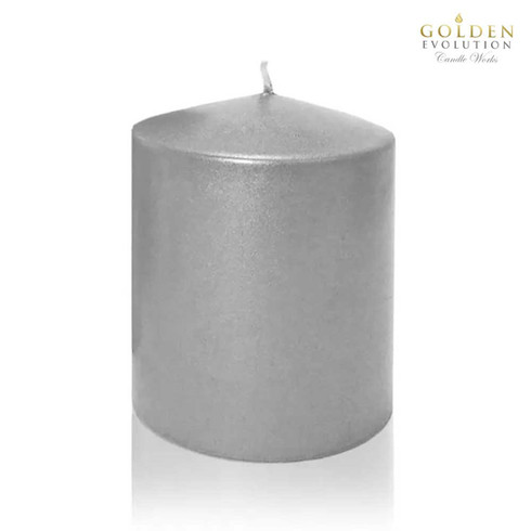"""Unscented 3"""" x 3"""" Silver Pillar Candle"""
