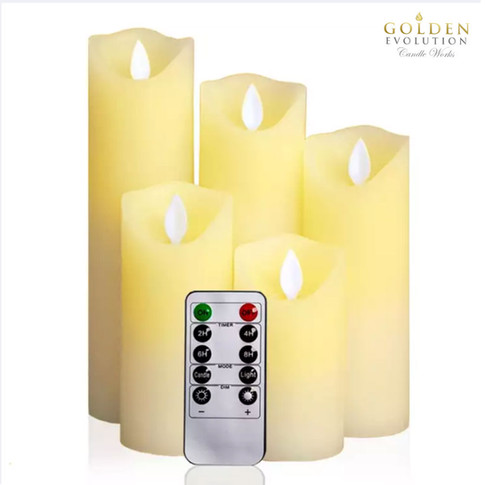 Set of 5 Flickering LED Flameless Real Wax Candles (5.5cm diameter)
