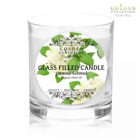 Jasmine Scented Glass Filled Candle 7oz (White)