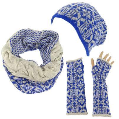Echarpe boucle bleu/emeraude